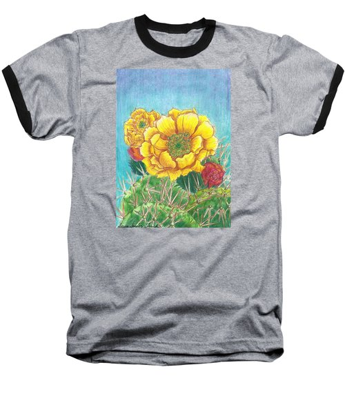 Baseball T-Shirt featuring the drawing Prickly Pear Cactus Flowering by Dawn Senior-Trask