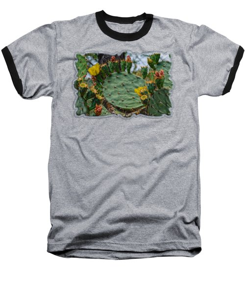 Prickly Pear Flowers H35 Baseball T-Shirt by Mark Myhaver
