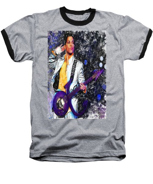 Prince - Tribute With Guitar Baseball T-Shirt