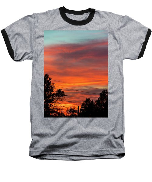 Princeton Junction Sunset Baseball T-Shirt by Steven Richman