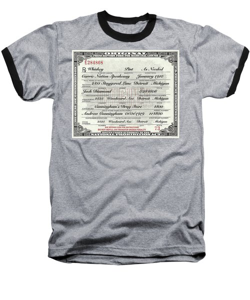 Prohibition Prescription Certificate Carrie Nation Speakeasy Baseball T-Shirt