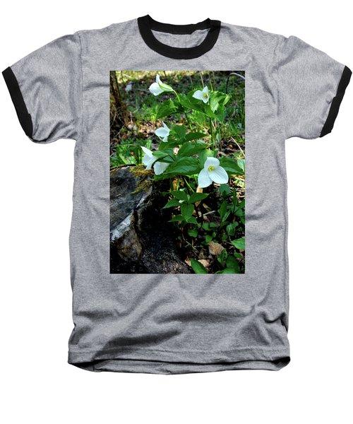 Baseball T-Shirt featuring the photograph Protected Wild Trillium  by LeeAnn McLaneGoetz McLaneGoetzStudioLLCcom