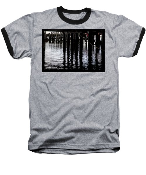 Baseball T-Shirt featuring the photograph Provincetown Wharf Reflections by Charles Harden