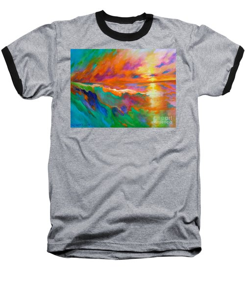 Baseball T-Shirt featuring the painting Psychedelic Sea by Alison Caltrider