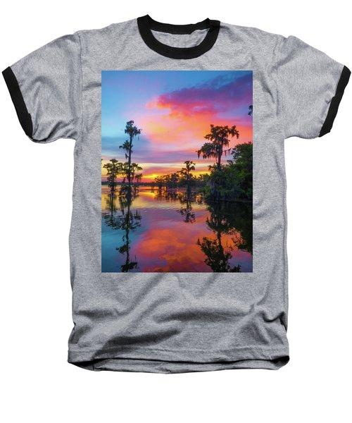 Psychedelic Swamp Baseball T-Shirt by Kimo Fernandez