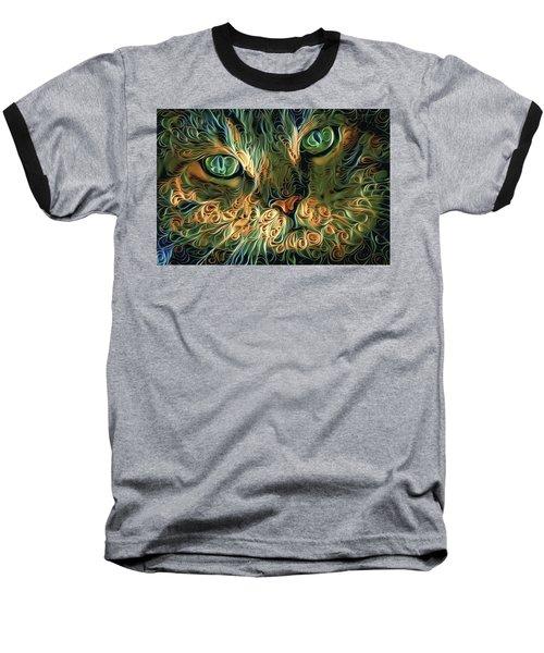 Psychedelic Tabby Cat Art Baseball T-Shirt