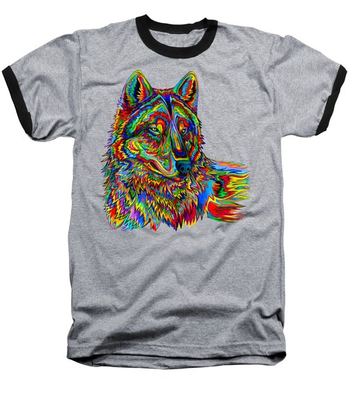 Psychedelic Wolf Baseball T-Shirt