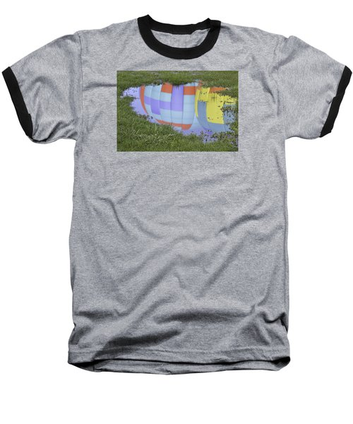 Puddle Reflections Baseball T-Shirt by Linda Geiger