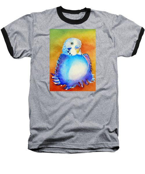 Pudgy Budgie Baseball T-Shirt by Patricia Piffath