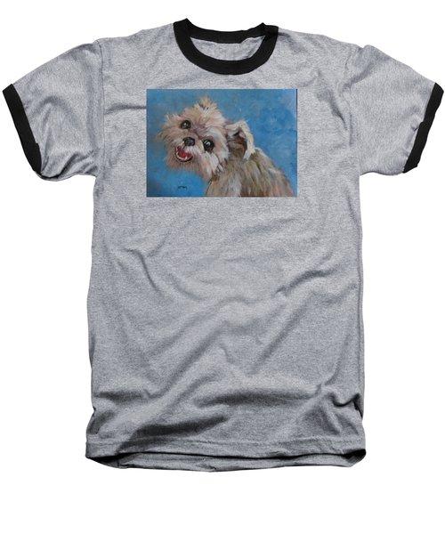 Pudgy Smiles Baseball T-Shirt by Barbara O'Toole