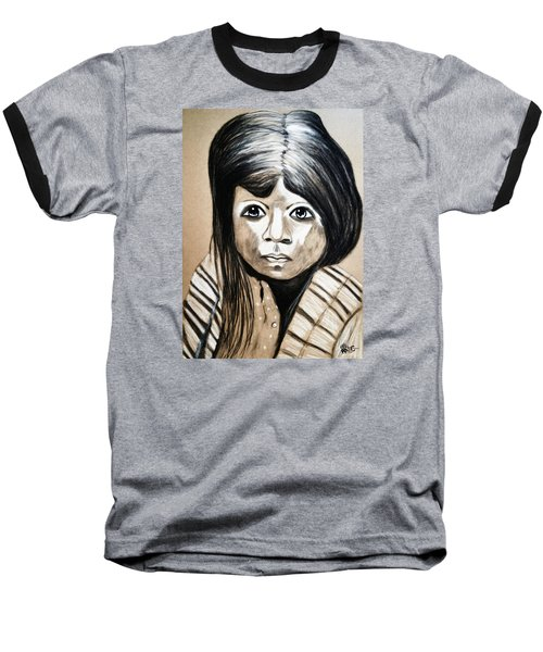 Baseball T-Shirt featuring the drawing Pueblo Girl by Ayasha Loya