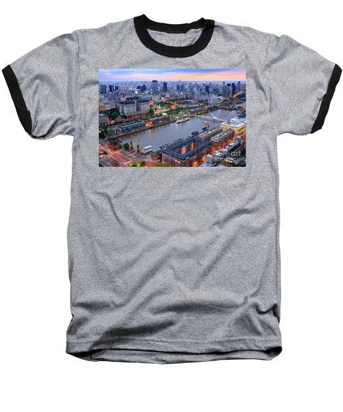 Puerto Madero Pier 3 Baseball T-Shirt by Bernardo Galmarini