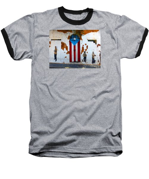 Baseball T-Shirt featuring the photograph Puerto Rican Flag On Wooden Door by Steven Spak