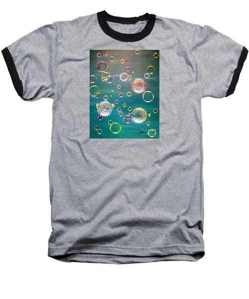 Puffer Fish Bubbles Baseball T-Shirt
