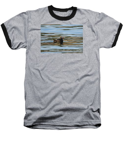 Puffin Reflected Baseball T-Shirt by Mike Dawson