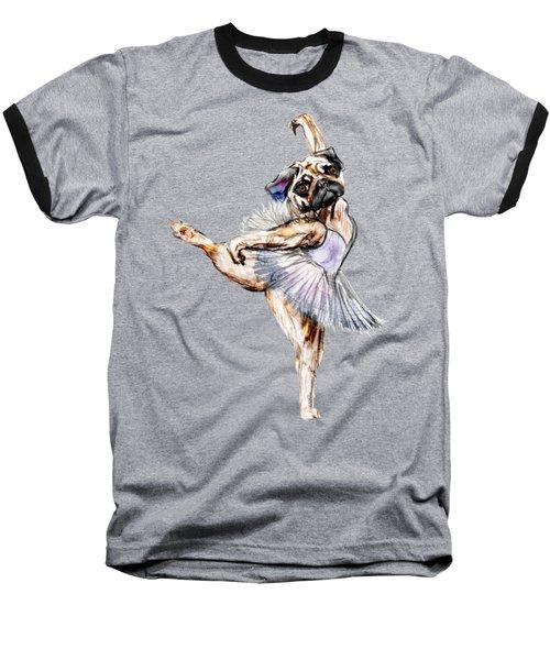 Pug Ballerina Dog Baseball T-Shirt by Notsniw Art