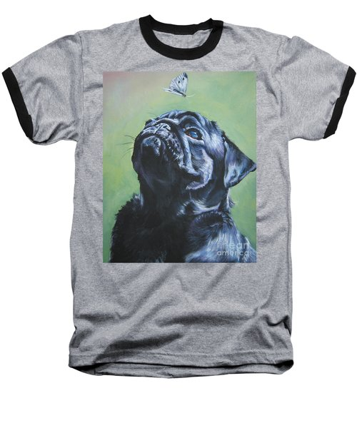 Pug Black  Baseball T-Shirt