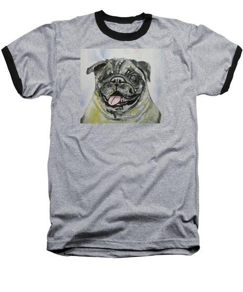 One Eyed Pug Portrait Baseball T-Shirt
