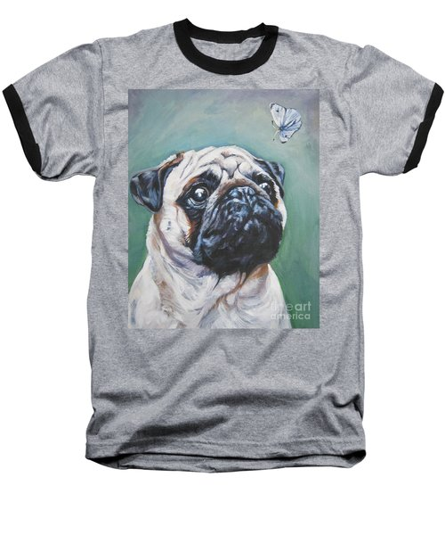Pug With Butterfly Baseball T-Shirt by Lee Ann Shepard
