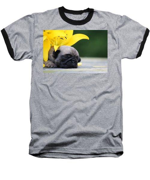 Puggy Face Bouqet Baseball T-Shirt