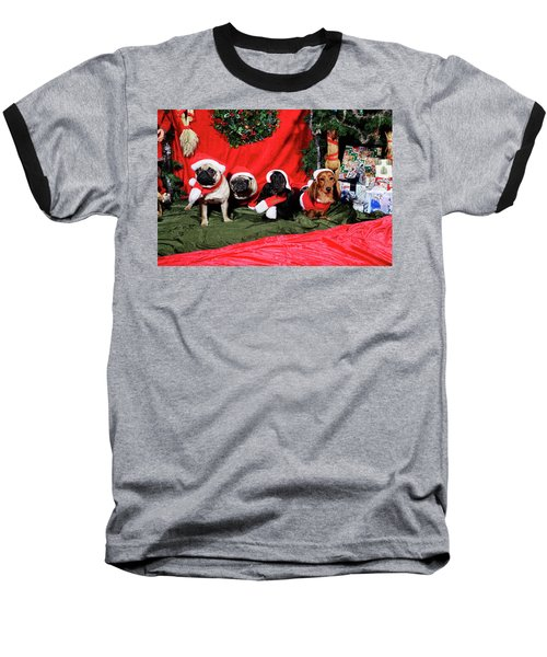 Pugs And Dachshounds Dressed As Father Christmas Baseball T-Shirt