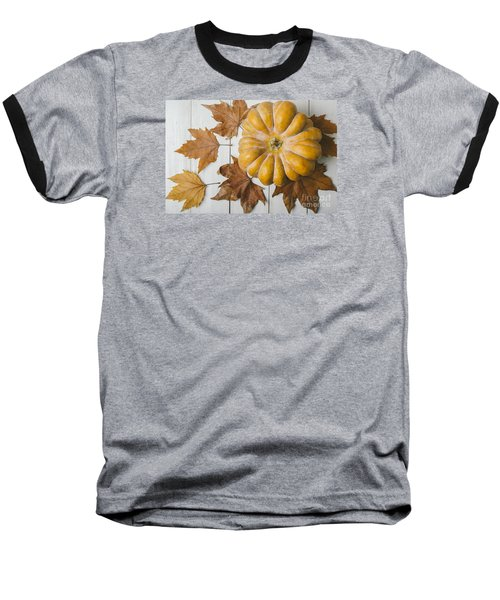 Pumkin And Maple Leaves Baseball T-Shirt
