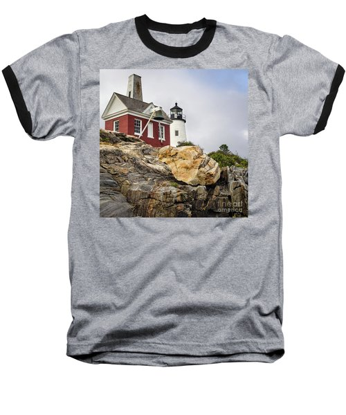 Pumphouse And Tower, Pemaquid Light, Bristol, Maine  -18958 Baseball T-Shirt by John Bald