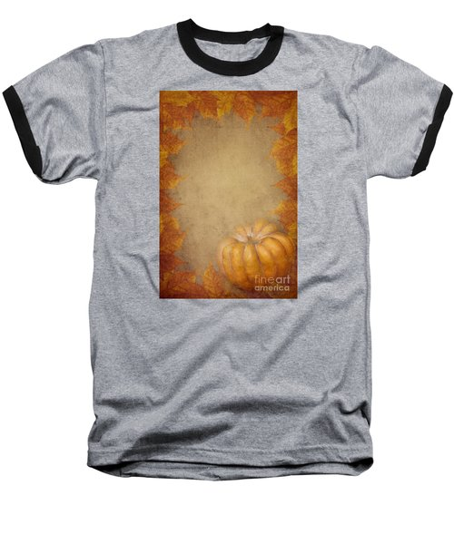 Pumpkin And Maple Leaves Baseball T-Shirt