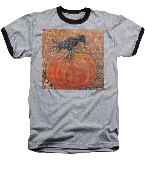 Pumpkin Crow Baseball T-Shirt
