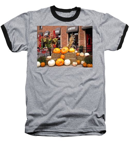 Pumpkin Display Baseball T-Shirt by Stephanie Moore