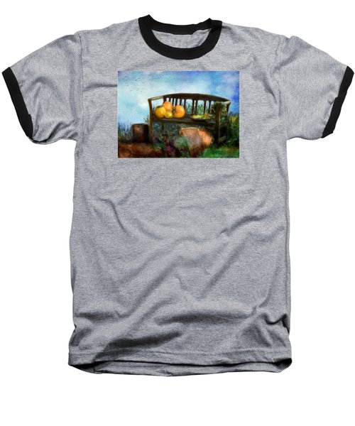 Pumpkin Harvest Respite Baseball T-Shirt by Colleen Taylor