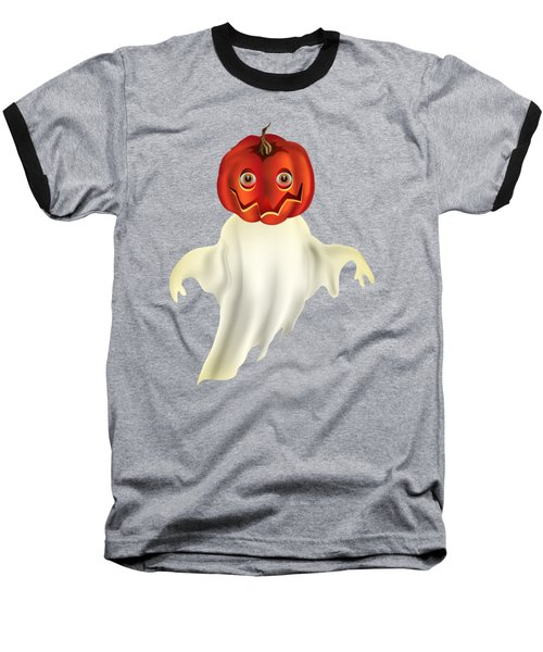 Pumpkin Headed Ghost Graphic Baseball T-Shirt by MM Anderson