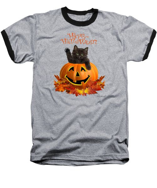 Pumpkin Kitty Baseball T-Shirt by Glenn Holbrook