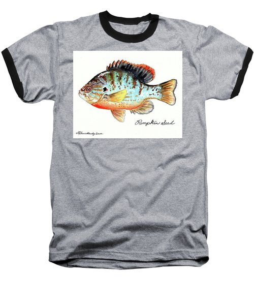 Pumpkin Seed Fish Baseball T-Shirt by LeAnne Sowa