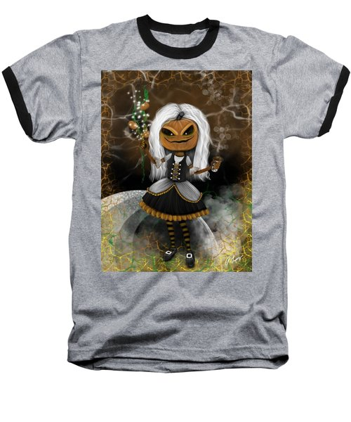 Pumpkin Spice Latte Monster Fantasy Art Baseball T-Shirt