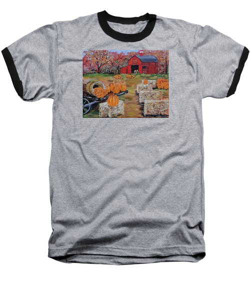 Pumpkin Time Baseball T-Shirt by Mike Caitham