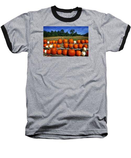 Pumpkins In A Row Baseball T-Shirt by Dee Flouton