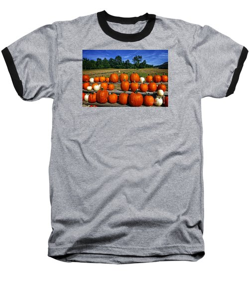 Pumpkins In A Row Baseball T-Shirt