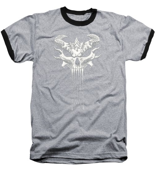 Baseball T-Shirt featuring the drawing  Dragon Skull T-shirt by Stanley Morrison