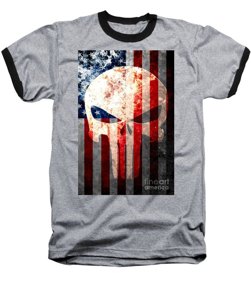 Punisher Skull And American Flag On Distressed Metal Sheet Baseball T-Shirt