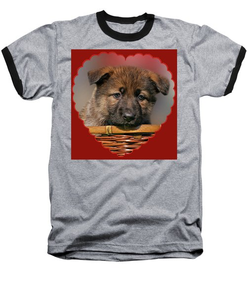 Baseball T-Shirt featuring the photograph Puppy In Red Heart by Sandy Keeton