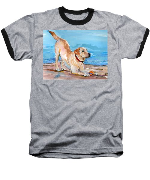 Baseball T-Shirt featuring the painting Puppy Pose by Molly Poole