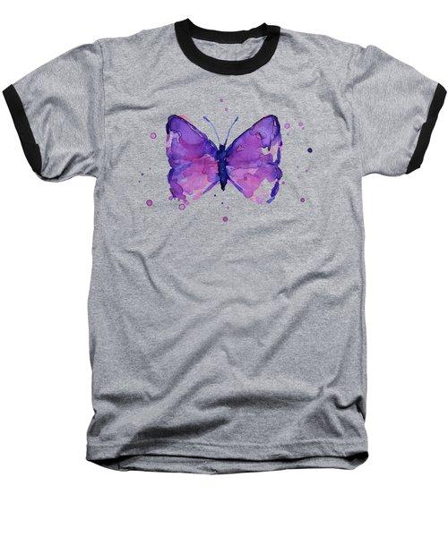 Purple Abstract Butterfly Baseball T-Shirt