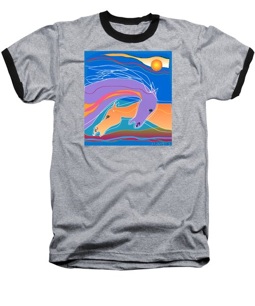 Baseball T-Shirt featuring the digital art Purple And Gold by Mary Armstrong