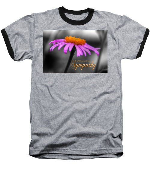 Baseball T-Shirt featuring the photograph Purple And Orange Coneflower With Sympathy by Shelley Neff