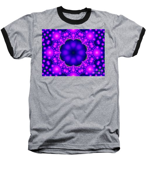 Purple And Pink Glow Fractal Baseball T-Shirt