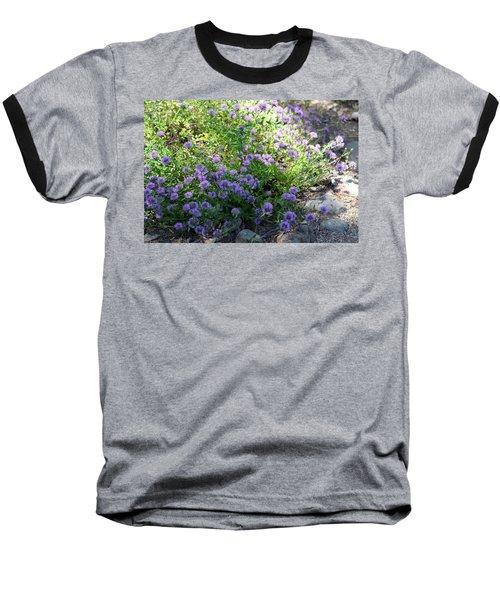Purple Bachelor Button Flower Baseball T-Shirt
