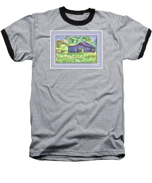 Baseball T-Shirt featuring the photograph Purple Barn Grey Border by Shirley Moravec
