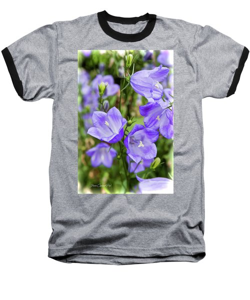 Purple Bell Flowers Baseball T-Shirt by Joann Copeland-Paul