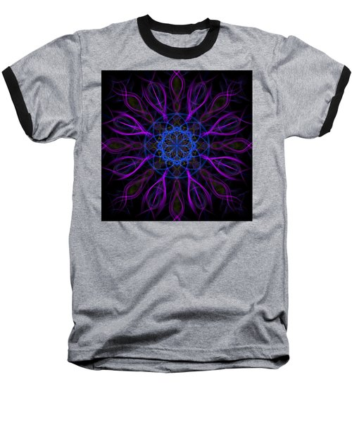 Baseball T-Shirt featuring the photograph Purple Blue Kaleidoscope Square by Adam Romanowicz